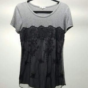 Maurices Womens Gray & Black Lace T-Shirt Size Med